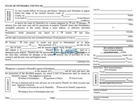 detainer summons tennessee forms lawscom