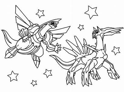 Pokemon Legendary Coloring Pages Dialga Palkia Giratina