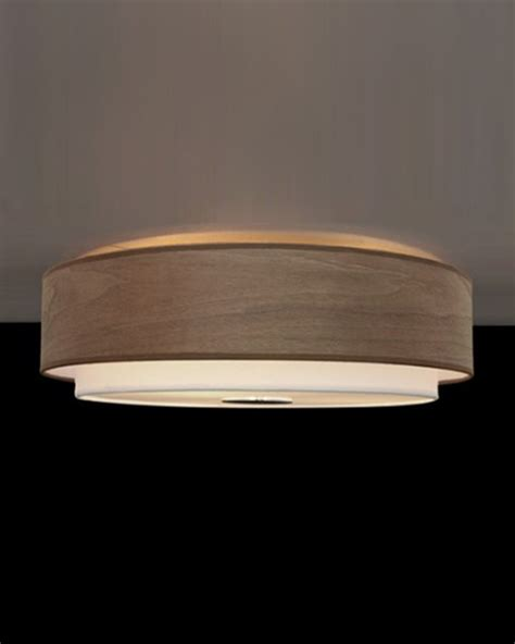 contemporary shaded walnut wood veneer flush mount
