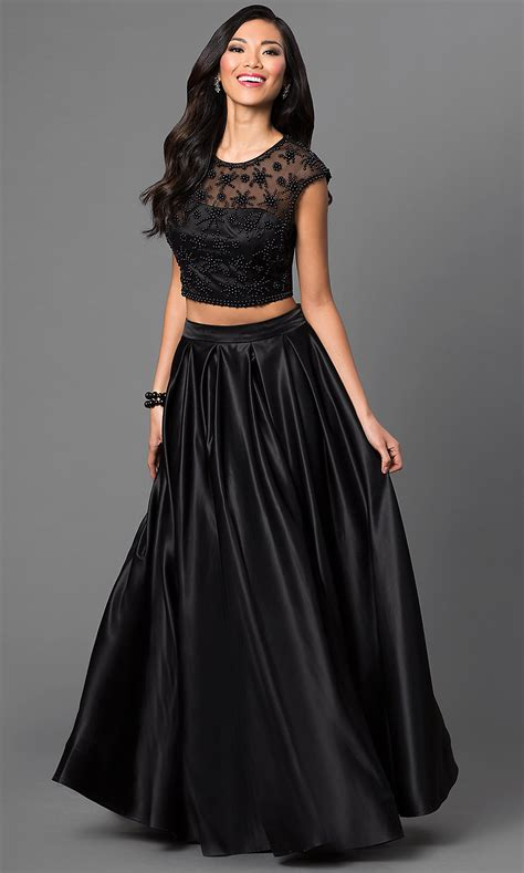 cap sleeve  piece beaded ball gown promgirl