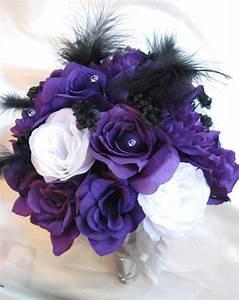 Wedding Bouquet Bridal Silk flowers PURPLE WHITE SILVER ...