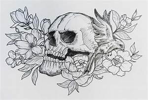 Tete De Mort Fleur : dessintatouagecranetetemort tete de mort t skull ~ Mglfilm.com Idées de Décoration