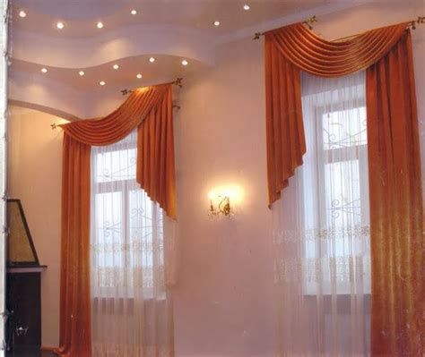 How To Drape Window Scarves - interesting way to treat a layered ceiling drapes