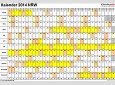 Kalender 2014 NRW Ferien, Feiertage, ExcelVorlagen