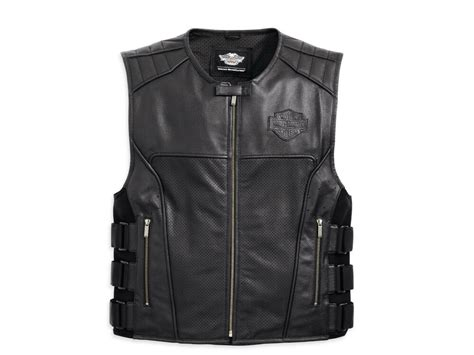 Harley Davidson Men Swat S.w.a.t 2 Ii Black Leather Vest