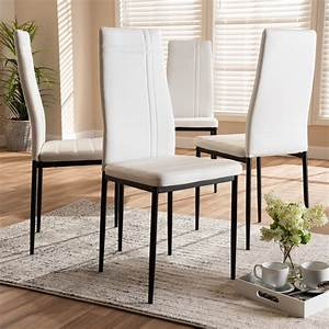Baxton, Studio, Matiese, Modern, And, Contemporary, White, Faux, Leather, Upholstered, Dining, Chair, Set, Of, 4