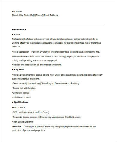 Firefighter Resume Templates by Sle Firefighter Resume 8 Exles In Word Pdf