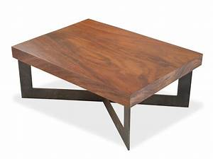 Solid wood tamburil slab coffee table metal base for Solid wood and metal coffee table