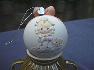Precious, Moments, Christmas, Ornament, 2003, Lights, White, Pink, Bow, Charm, No, Box