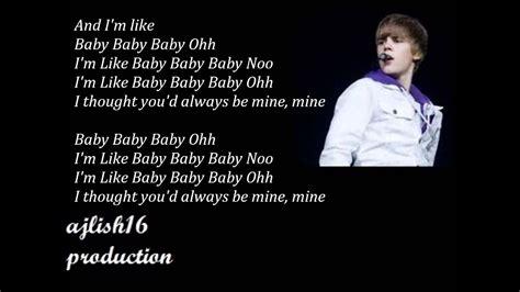 Justin Bieber ~ Baby (Acoustic) Lyrics - YouTube