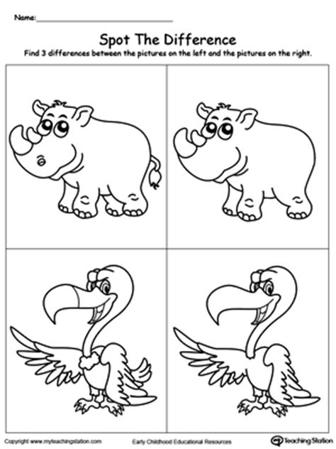 early childhood and colors worksheets 776 | Spot The Difference What Is Missing In The Picture Rhino Vulture