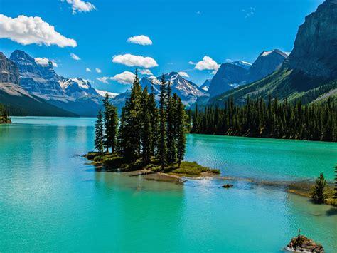 natural spring lake mountain snow island beautiful