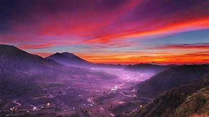 Pink Clouds Sky Sunset Mountain Landscape Indonesia