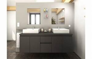 Meuble Vasque De Salle De Bain : meuble salle de bain gris mat 4 portes 2 tiroirs 2 vasques 2 miroirs ~ Melissatoandfro.com Idées de Décoration