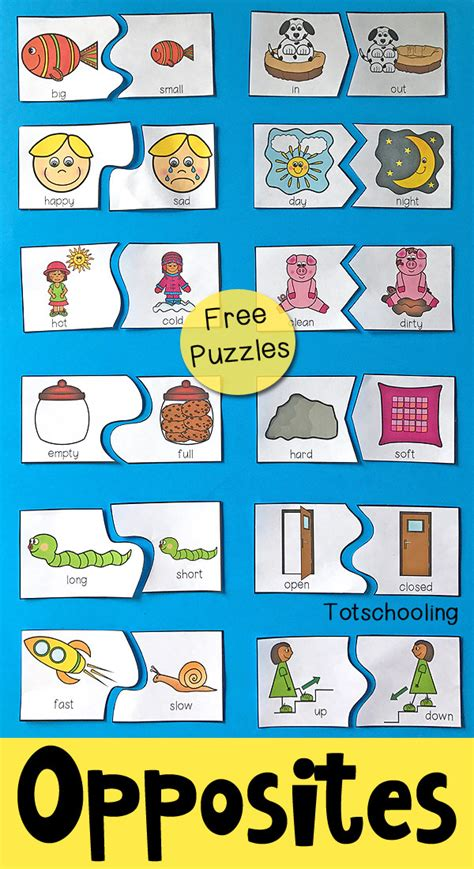 opposites puzzles for preschool totschooling toddler preschool kindergarten educational