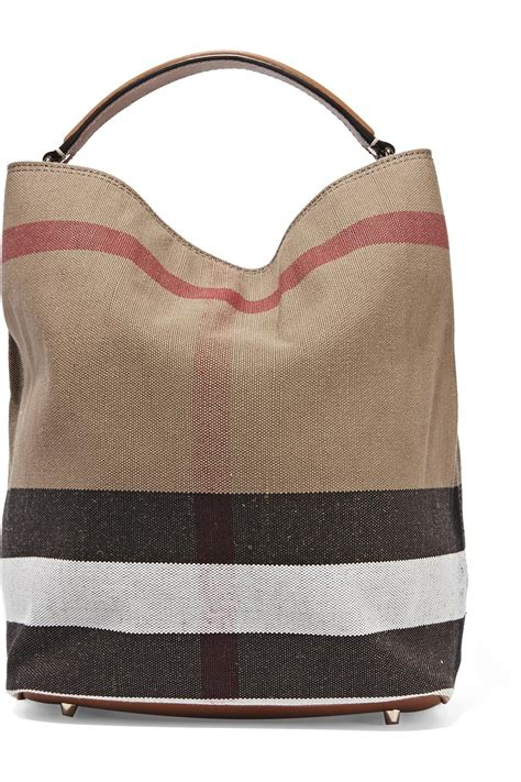 burberry leather trimmed checked canvas hobo bag  brown lyst