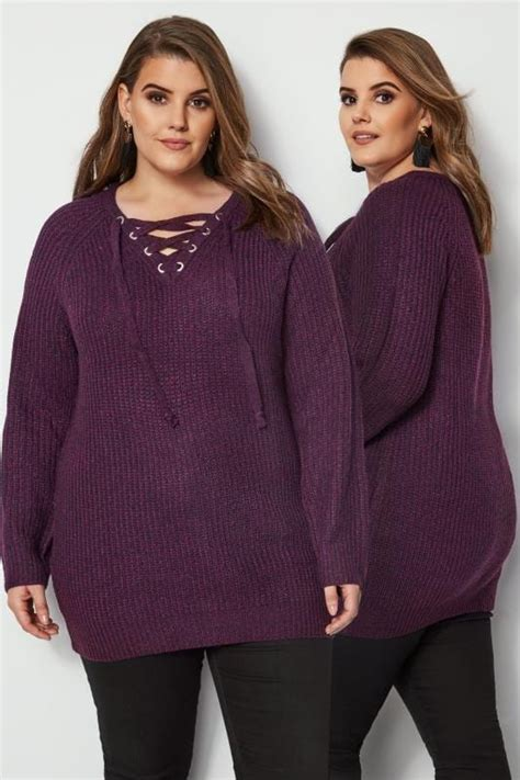 date post jenny template responsive purple knitted jumper with eyelet lattice front plus size