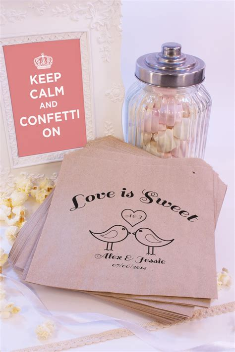 details about personalised wedding sweet bags love birds