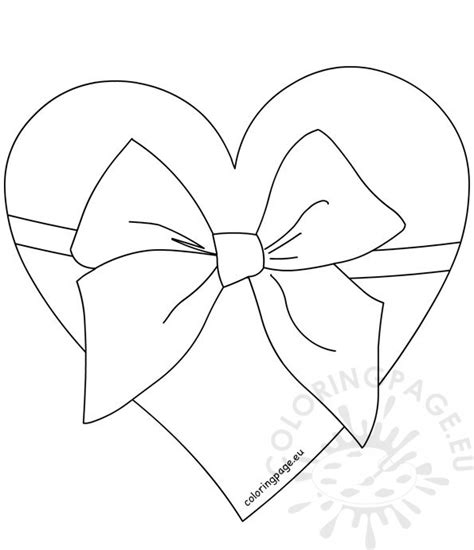 heart tied  ribbon bow black  white coloring page