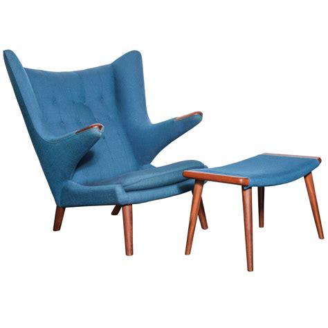 Authentic Hans Wegner Papa Chair by Hans Wegner Papa Chair And Matching Ottoman Original