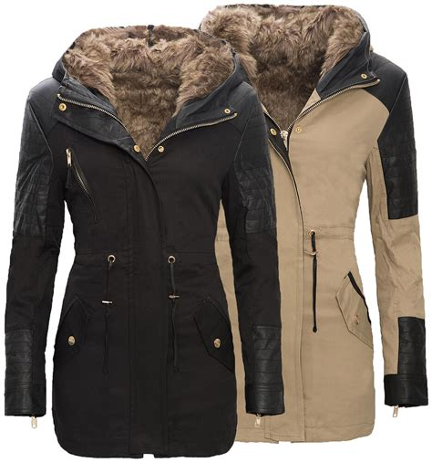 damen winter warme damen winter parka jacke langer mantel winterjacke fell kragen s d 88 ebay