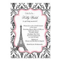 eiffel tower pink bridal shower invitation