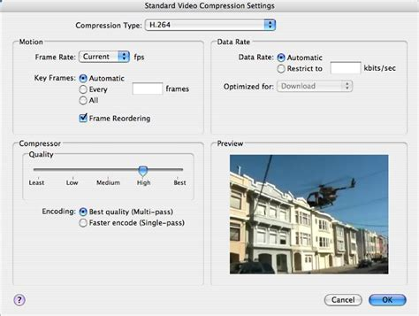 Web Page Optimisation by Figure 6 7 Quicktime Pro Standard Compression Settings