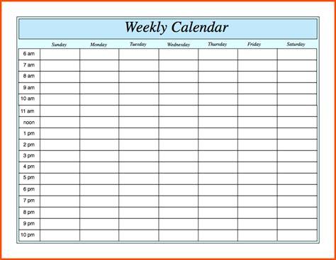 Doc 30142275 Excel Weekly Calendar Free Weekly