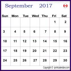 September 2017 Calendar Canada
