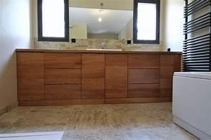 Salle De Bain En Bois : salle de bain sur mesure en bois exotique ~ Teatrodelosmanantiales.com Idées de Décoration