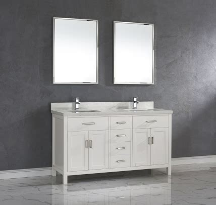 white double sink bathroom vanity  marble