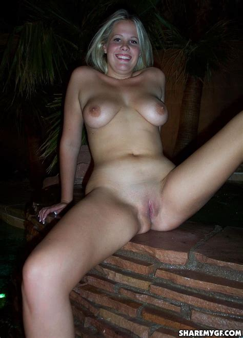Busty blonde girlfriend plays naked out by the pool for the camera   Coed Cherry