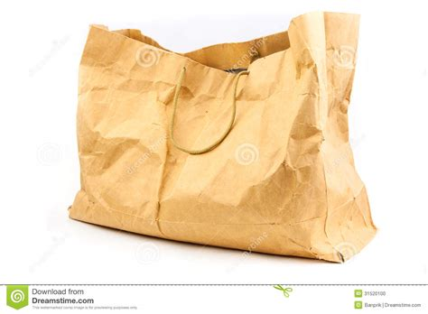Old Wrinkle Brown Paper Bag Stock Photo