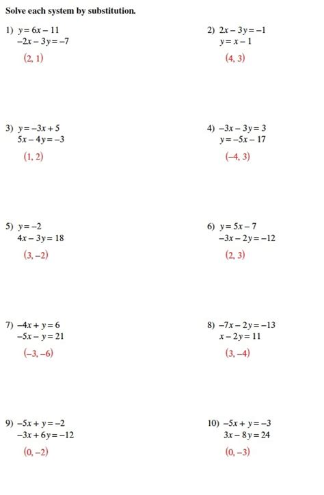 solving systems of equations by substitution worksheet answers solving systems of equations substitution worksheet worksheets for all and