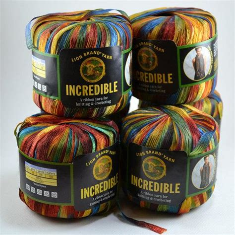 Lion Brand Yarn Incredible Ribbon Yarn 6 Skeins The