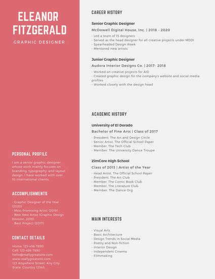 Chronological Resume Graphic Design by Navy Blue And Simple Graphic Designer Resume
