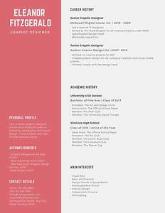Resume Template For High School Students Navy Blue And Red Simple Graphic Designer Resume