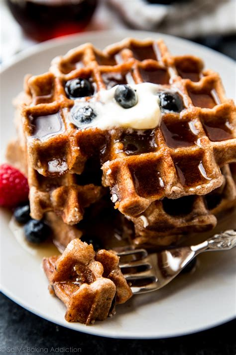 fluffy whole wheat waffles sallys baking addiction