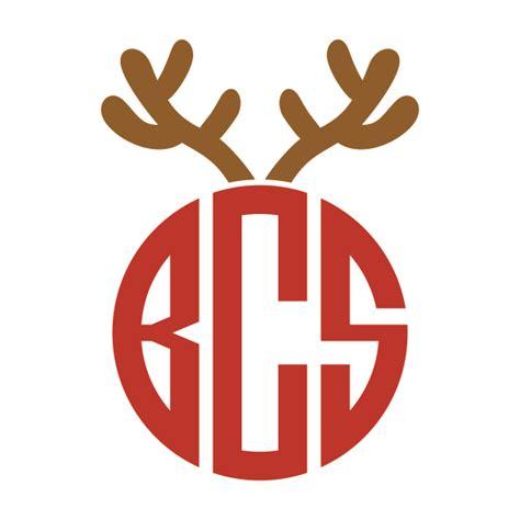christmas bulb  antlers monogram frames svg cuttables