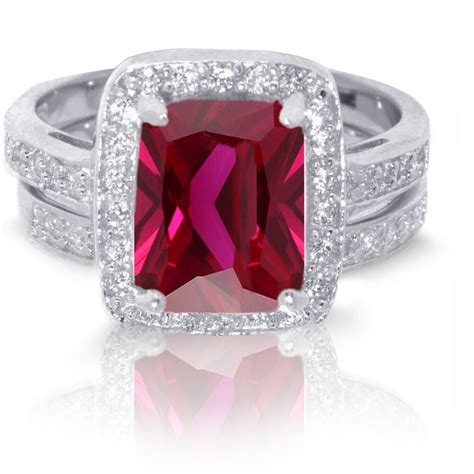 large emerald cut traditional ruby wedding engagement sterling silver ring ebay