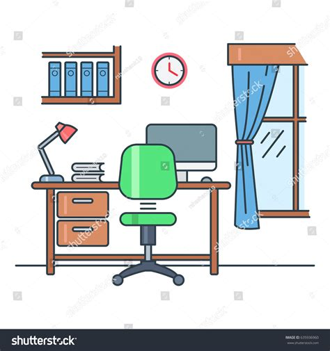 white computer desk with bookshelf study room stock vector 635936960