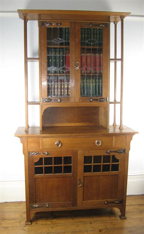 Arts And Crafts Bookcase by Arts And Crafts Oak Glazed Bookcase Sideboard Antiques