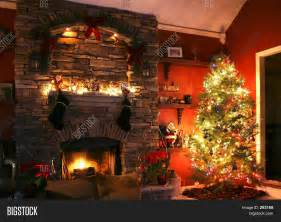 christmas tree next fireplace image photo bigstock