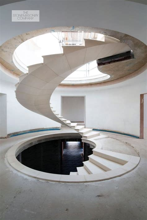 deg post tensioned stone spiral staircase