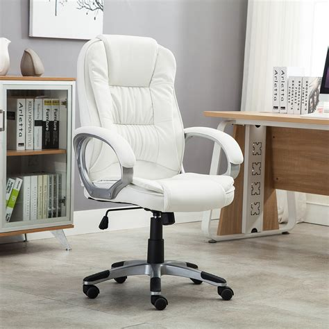 white executive office desk white pu leather high back office chair executive