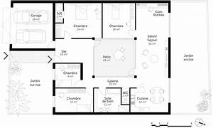 plan maison plain pied 4 chambres ooreka With plan maison contemporaine plain pied 4 chambres