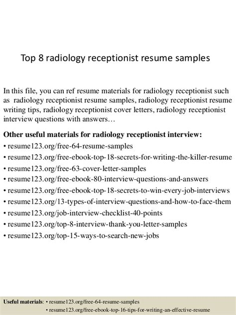 top 8 radiology receptionist resume sles