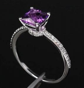 purple engagement rings cut dark purple amethyst With wedding rings purple