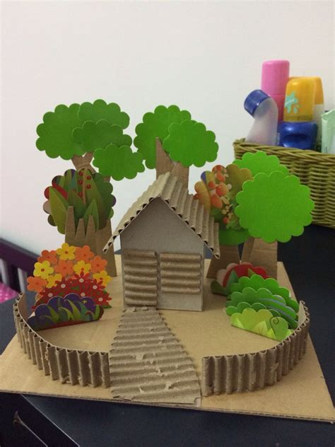 simple diorama house  garden   recycled cardboard