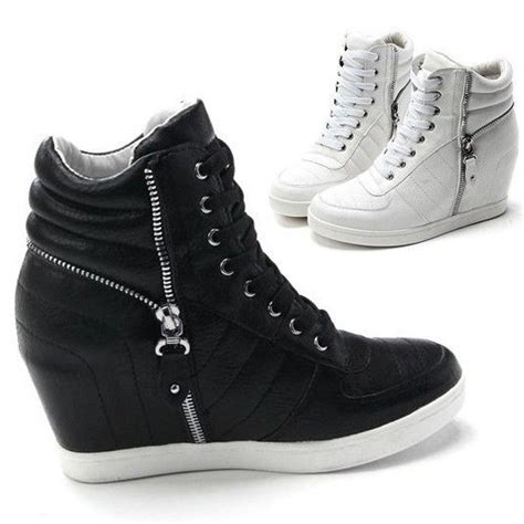 Sneakers - Womenu0026#39;s Fashion  Womens Black White Zippers High Top Hidden Wedge Sneakers Ankle ...